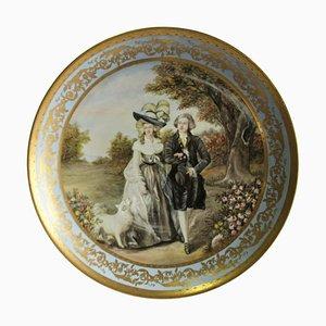 Grand Plat ou Plaque Murale Viennois du 20ème Siècle en Porcelaine Représentant Dame et Monsieur