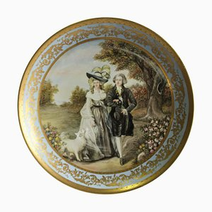 Large 20th Century Viennese Charger Plate or Wall Plaque in Porcelain Depicting Lady and Gentleman
