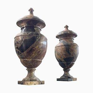 Große italienische Urnen aus Marmor, 19. Jh., 2er Set