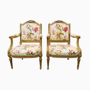 19th Century French Armchairs in Giltwood, Set of 2