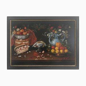 Natura morta con frutta, fiori e ceramica, XX secolo