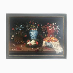20th Century Still Life of Fruit, Flowers and Pottery