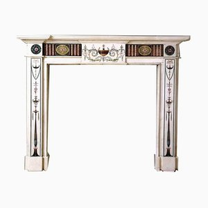 18th Century Hand-Carved Marble Fireplace with Scagliola Inlay by Bossi