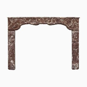 18th Century Louis XVI Hand-Carved Rouge Marble Fireplace Surround