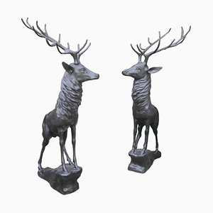 20th Century Life-Sized Bronze Stags on Rocks, Set of 2