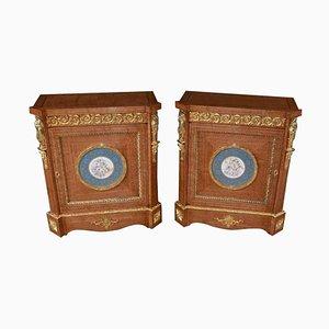 French Napoleon III Satinwood Side Cabinets, 1910s, Set of 2