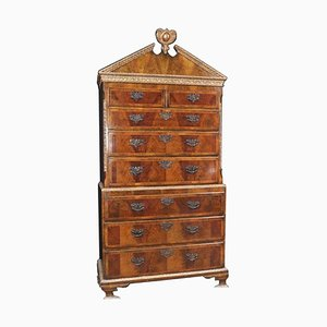 Large English Burl Walnut Double Chest of Drawers, 1840s