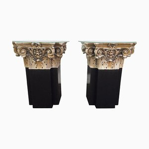18th Century White Marble and Gilt Columns, Set of 2