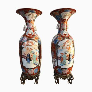 19th Century Japanese Meiji Imari Porcelain Vases, Set of 2