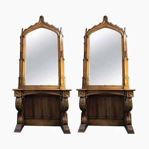 Antiker gotischer Konsolentisch mit Spiegel, 2er Set