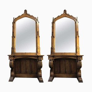 Antique Gothic Console Table and Mirror Sets, Manchester Town Hall, Set of 2
