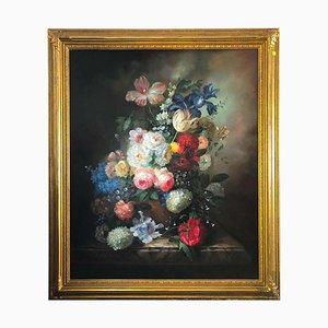 Bouquet of Carnations, Still Life by S. Pecora, 20th Century