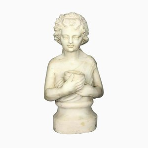 19th Century Marble Bust of a Child Holding a Bird's Nest