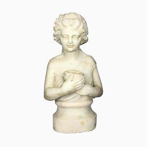 Marmorbüste eines Kindes mit Vogelnest, 19. Jh