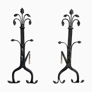 19th Century Gothic Wrought Iron Fireplace Andirons, Set of 2
