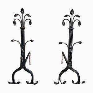 Alari da camino gotici in ferro battuto, XIX secolo, set di 2