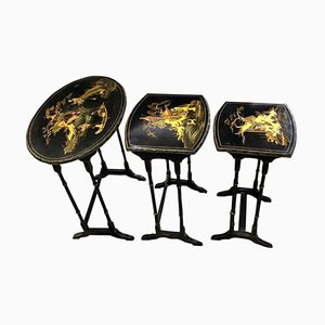 East Asian Carved Nesting Tables, Set of 3