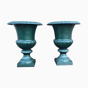 Large 19th Century French Cast Iron Campana Urns