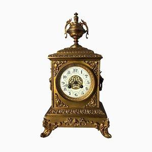 Horloge de Cheminée Dorée, France, 19ème Siècle