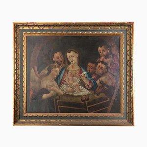 Italienische, 19. Jh., Jesus, Maria, Weisen, Engel und Esel, Öl auf Leinwand