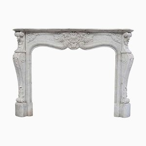 19th Century Louis XVI Fireplace Mantel in Sculpted White Carrara Marble