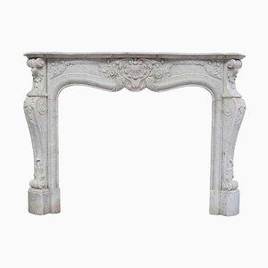 Cornice da camino Luigi XVI in marmo bianco di Carrara, XIX secolo
