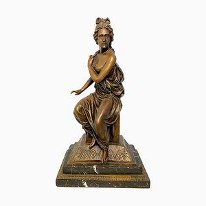 Dame en Bronze de Style Néoclassique sur Socle Détaillé, 20ème Siècle