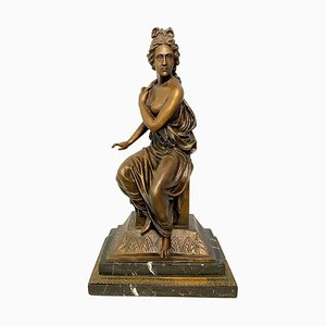 Neoclassical Style Bronze Lady on Detailed Plinth Base, 20th Century