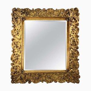 Großer Spiegel aus geschnitztem & vergoldetem Holz, 19. Jh
