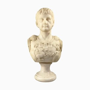 20th Century White Marble Bust of a Roman General