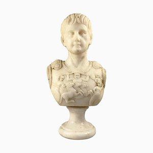 Weiße Marmorbüste eines römischen Generals, 20. Jh