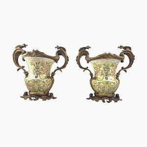 Urnes à Deux Poignées en Porcelaine et Or Moulu, France, 20ème Siècle, Set de 2