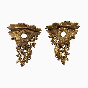 19th Century Carved Giltwood Wall Brackets, Set of 2