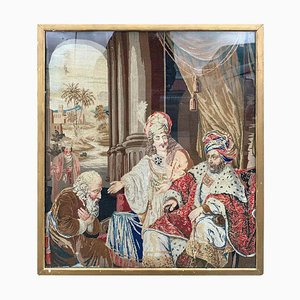 Ricamo europeo di una scena biblica, XIX secolo