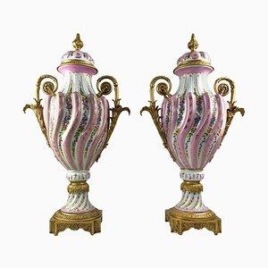 Vases avec Couvercles en Porcelaine de Sèvres Dorée et Rose, 20ème Siècle, Set de 2