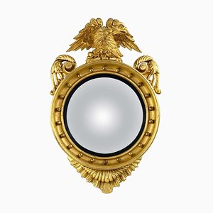 19th Century Regency Carved & Gilded Convex Wall Mirror in Wood