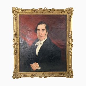 19. Jh., Öl auf Leinwand, Portrait eines englischen Gentleman