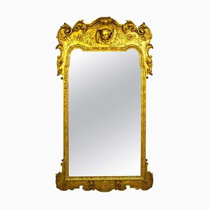 French Carved and Gilded Wood Wall Mirror with Cherub & Acanthus Design