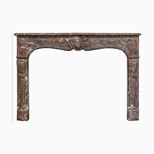19th Century Louis XV Style Fireplace Mantel in Rouge Royal Marble