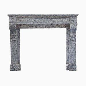 19th Century Italian Louis Philippe Bardiglio Marble Fireplace Mantel