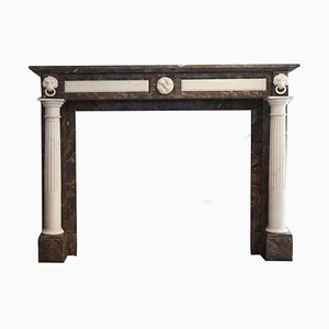 19th Century Empire Marble Fireplace Mantel with Carved Columns and Lion Heads