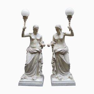 20. Jh. Lampen mit römischen Frauen von M. Osman, 2er Set