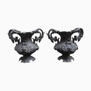 Early 20th Century Decorative Cast Iron Urns, Set of 2