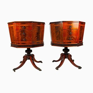 19th Century English Regency Hexagonal Sewing Chests or Side Tables, Set of 2