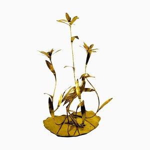 Italian Golden Brass Crane or Heron and Flower Floor Lamp from Cittone Oggi, 1960s