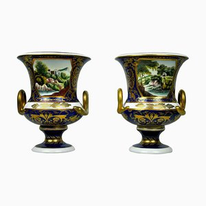 20th Century Hand-Painted Deep Blue and Gilt Sieve Vases, Set of 2