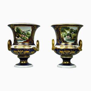 Vases Bleus et Dorés Peints à la Main, 20ème Siècle, Set de 2