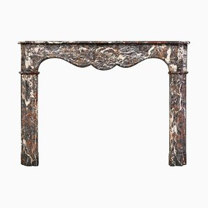 18th Century Louis XVI Fireplace Mantel in Rouge Royal Marble