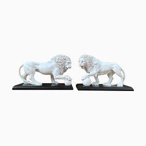 Statuette a forma di leone in marmo, set di 2