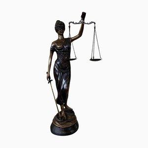 Statue Lady Justice en Bronze avec Balance, 20ème Siècle